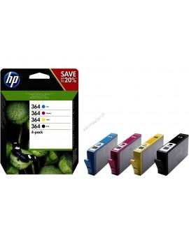 HP 364 pack de 4 cartouches d'encre noir/cyan/magenta/jaune